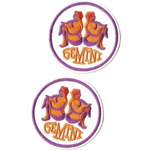 GEMINI ZODIAC PATCHES EASY IRON ON BADGES (2-PACK)